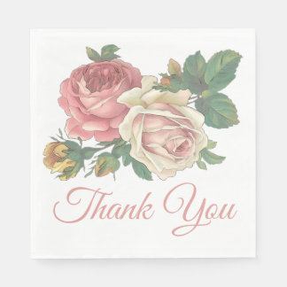 Floral Pink Rose Flowers Wedding Thank You Party Paper Napkin