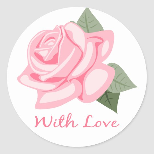 Floral Pink Rose Flowers With Love - Wedding Gifts Classic Round Sticker