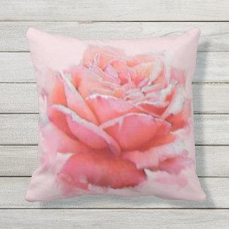 floral pink rose romantic watercolor throw pillow