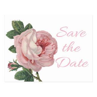 Floral Pink Rose Save The Date Vintage Wedding Postcard