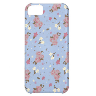 Floral Pink Roses on baby blue iPhone 5C Cover