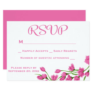 """Floral Pink RSVP Fuchsia And White Flowers Wedding 3.5"""" X 5"""" Invitation Card"""