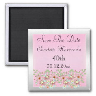 Floral Pink & Silver Save The Date 40th Square Magnet