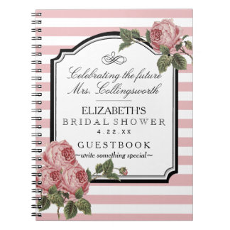 Floral Pink Stripes Girly Bridal Shower Guestbook Spiral Note Books