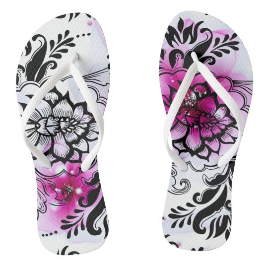 floral pink tattoo style flip flops