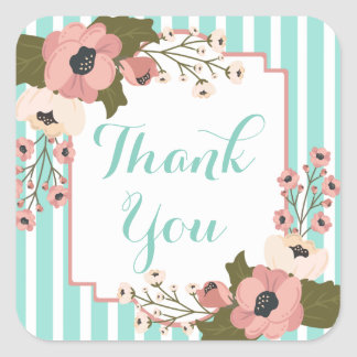 Floral Pink Thank You Green Mint Stripes Wedding Square Sticker