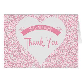 Floral Pink Thank You Heart Lovebirds Wedding Card