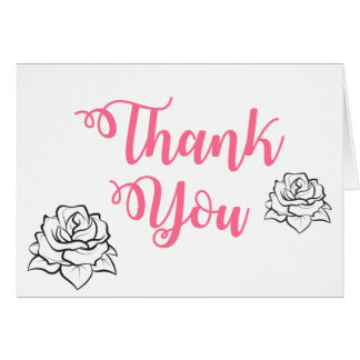 Floral Pink Thank You Rose Flower Wedding Party Card