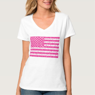 Floral pink USA flag t-shirt