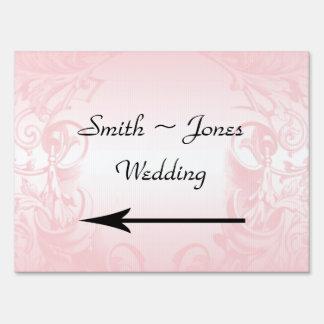Floral Pink Vintage Wedding Direction Sign