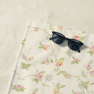 Floral Pink Wallpaper Girly Cute Beach Towel