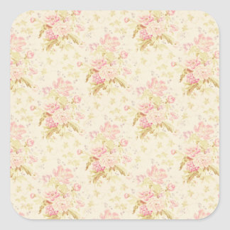 Floral Pink Wallpaper Girly Cute Gift Wrapping Square Sticker
