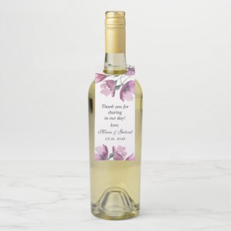 Floral pink watercolor bouquet Wedding Bottle Tag