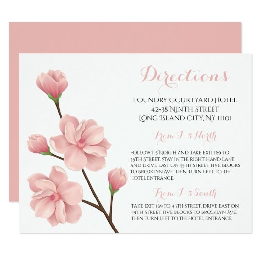 Floral Pink Wedding Directions  Cherry Blossoms Card