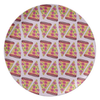 floral pizza party plate