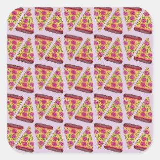 floral pizza square sticker