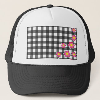 Floral plaid design trucker hat