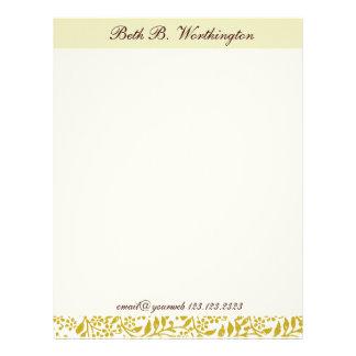 Floral  Plain Elegant Custom  Personalized Letterhead