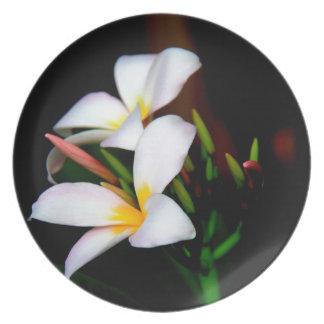 Floral Plumeria Bloom on black (Hawaii Lei Flower) Plate