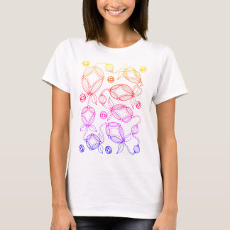 Floral Pod Line Art Design T-Shirt