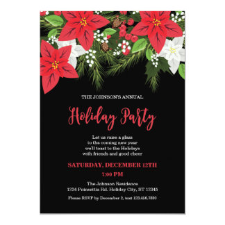 Floral Poinsettia Holiday Party Invitation