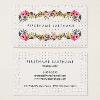 Floral Polka Dot Business Cards