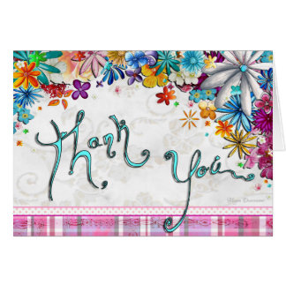 Floral Polka Dot Plaid Fun Thank You Card