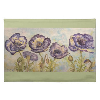 Floral Poppies Watercolor Art Cloth Placemat
