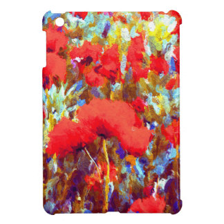 Floral Poppy Field Color Splash Print iPad Mini Cases