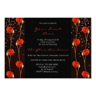 Floral Poppy Gold Confetti Black Delicate Stripes Card