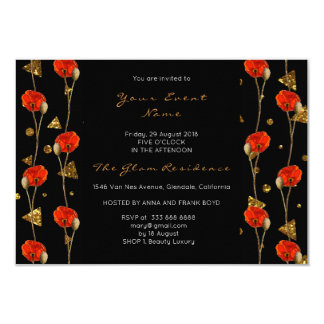 Floral Poppy Gold Confetti Black Geometry Glitter Card