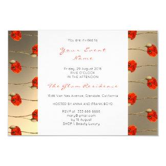 Floral Poppy Gold Confetti White Delicate Stripes Card