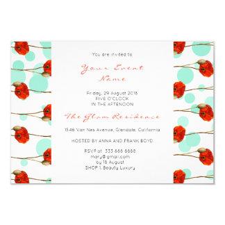 Floral Poppy Mint Confetti White Delicate Stripes Card
