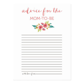Floral Posies Baby Shower Advice Card Postcard