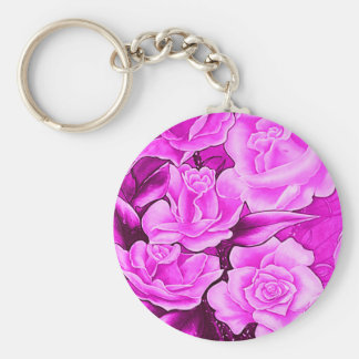 FLORAL POSTCARD IN ROSA KEYCHAIN