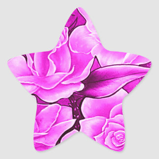 FLORAL POSTCARD IN ROSA STAR STICKER