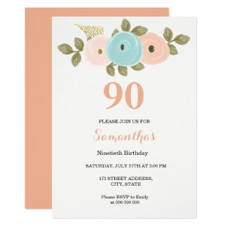 Floral Pretty Peach 90th Birthday Invitation