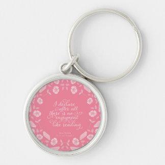 Floral Pride & Prejudice Jane Austen Bookish Quote Keychain