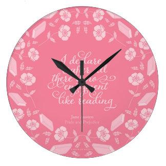 Floral Pride & Prejudice Jane Austen Bookish Quote Large Clock