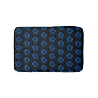 Floral print blue flowers bath mat