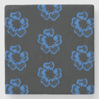 Floral print blue flowers stone coaster