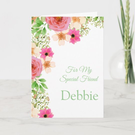 Pleasing Floral Print Custom Name Birthday Card Friend Card Zazzle Ca Funny Birthday Cards Online Inifodamsfinfo