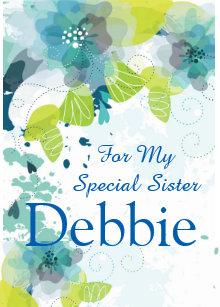 Floral Print Custom Name Birthday Card Sister