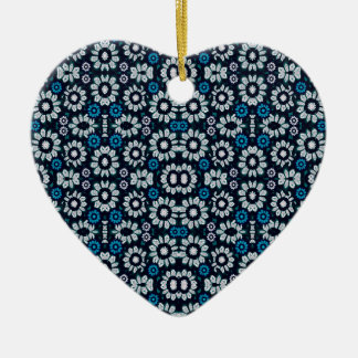 Floral Print Seamless Pattern in Cold Tones Ceramic Heart Ornament