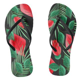 floral printing flip flops