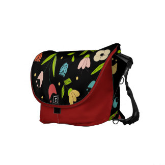 floral printing with black bottom courier bag