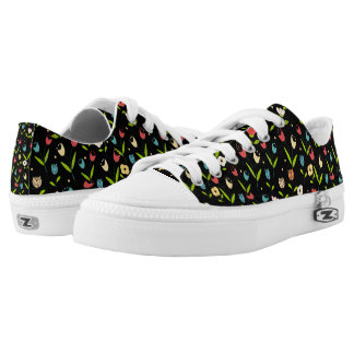 floral printing with black bottom Low-Top sneakers