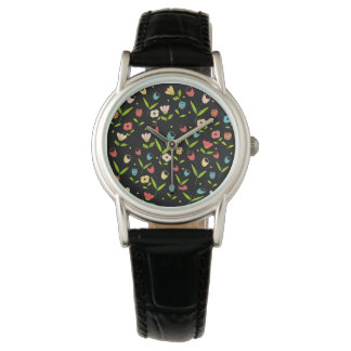 floral printing with black bottom watch