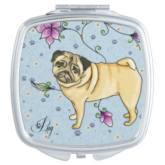 Floral Pug Compact Mirror