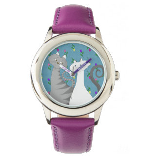 Floral Purple Adorable Love Cats Romantic Girly Watch